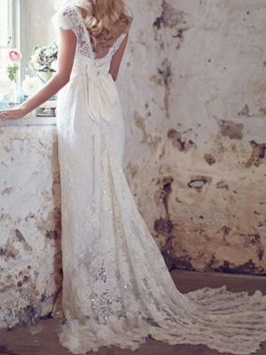 Country Mermaid Wedding Dress V-Neck Lace Short Sleeve Plus Size Bridal Gowns Court Train_3