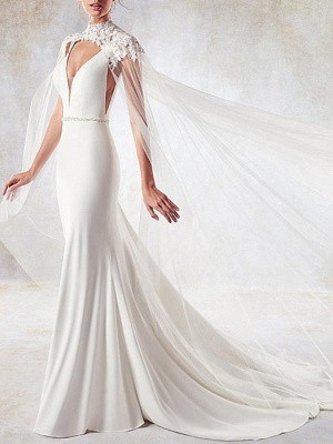 Stylish Mermaid V-Neck Wedding Dress Sexy Open Back Sleeveless Bridal Dress with Beading Sash