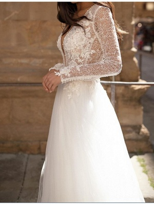 A-Line Wedding Dresses Plunging Neck Lace Tulle Long Sleeve Bridal Gowns Country Plus Size Court Train_2