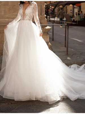 A-Line Wedding Dresses Plunging Neck Lace Tulle Long Sleeve Bridal Gowns Country Plus Size Court Train_1