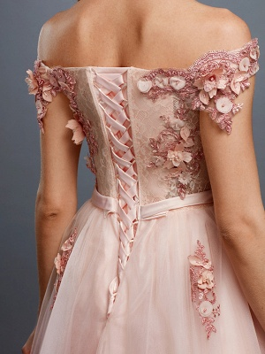 Glamorous Sleeveless Appliques Tulle A-Line Prom Dresses_8