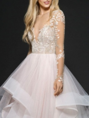 A-Line Wedding Dress V-Neck Lace Tulle Long Sleeve Bridal Gowns On Sale_2