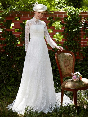 Illusion A-Line Wedding Dress Floral Lace Long Sleeve Bridal Gowns Court Train_5