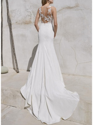 Plus Size Mermaid Wedding Dress V-Neck Lace Satin Straps Bridal Gowns with Sweep Train_2