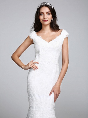 Romantic Mermaid Wedding Dress V-neck All Over Lace Cap Sleeve Sexy Backless Bridal Gowns Illusion Detail_7