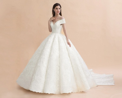 Luxury Ball Gown Lace Satin Sweetheart Wedding Dress | Sleeveless Bridal Gowns with V-Back_4