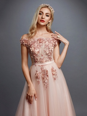 Glamorous Sleeveless Appliques Tulle A-Line Prom Dresses_4