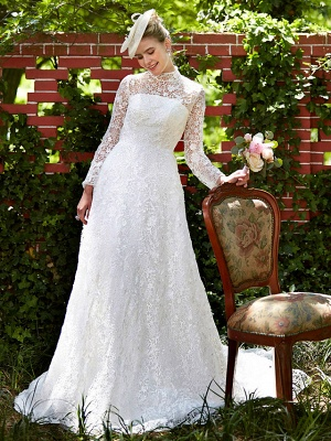 Illusion A-Line Wedding Dress Floral Lace Long Sleeve Bridal Gowns Court Train_1