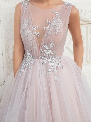 A-Line Wedding Dresses Jewel Tulle Polyester Sleeveless Bridal Gowns Country Plus Size Sweep Train_4