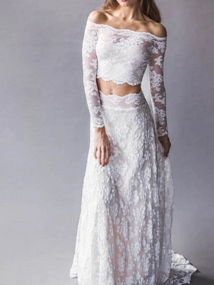 Beach Boho Two Piece Wedding Dress Off Shoulder Lace Long Sleeve Sexy Bridal Gowns Sweep Train
