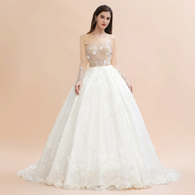 Luxury Ball Gown Tulle Lace Wedding Dress | Long Sleeves Appliques Pearls Bridal Gowns with Flowers_5