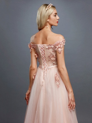 Glamorous Sleeveless Appliques Tulle A-Line Prom Dresses_5