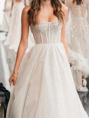 Country Plus Size A-Line Spaghetti Strap Wedding Dress Sleeveless Bridal Gowns with Sweep Train_3