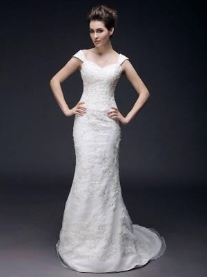 Affordable Mermaid Off Shoulder Wedding Dress Organza Short Sleeve Bridal Gowns with Sweep Train