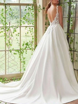 Beautiful A-Line Lace Wedding Dress Satin Straps V-Neck Bridal Gowns On Sale_2