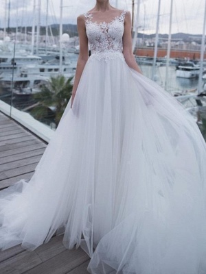 Country A-Line Wedding Dress Scoop Polyester Sleeveless Plus Size Bridal Gowns Sweep Train_1