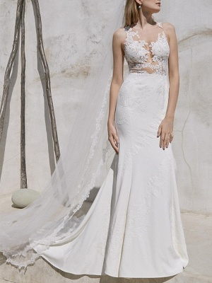 Plus Size Mermaid Wedding Dress V-Neck Lace Satin Straps Bridal Gowns with Sweep Train_1