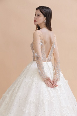 Luxury Ball Gown Tulle Lace Wedding Dress | Long Sleeves Appliques Pearls Bridal Gowns with Flowers_10