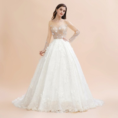 Luxury Ball Gown Tulle Lace Wedding Dress | Long Sleeves Appliques Pearls Bridal Gowns with Flowers_3