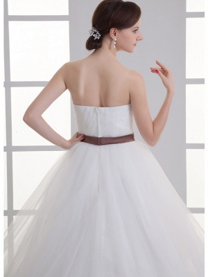 Sexy A-Line Wedding Dress Sweetheart Lace Satin Tulle Strapless Bridal Gowns with Court Train_6