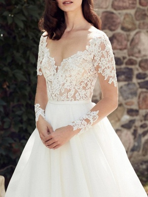 A-Line Wedding Dress V-Neck Lace Tulle Long Sleeve Bridal Gowns Court Train_2