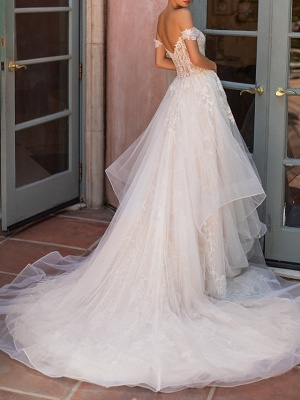 Off The Shoulder Tulle Appliques Ruffles Wedding Dresses Long_3
