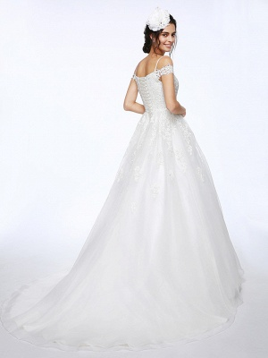 Ball Gown Wedding Dress Off Shoulder Organza Beaded Lace Short Sleeve Bridal Gowns with Court Train_2