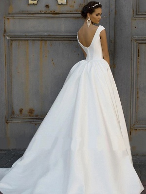 A-Line Wedding Dress Bateau Cap Sleeve Bridal Gowns Court Train On Sale
