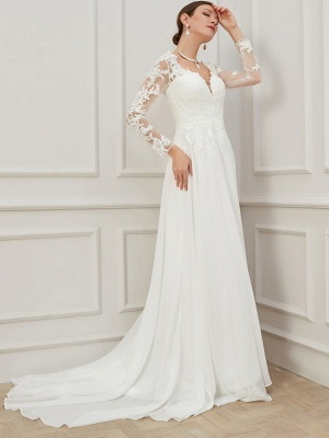 Formal Sheath Wedding Dress V-Neck Lace Tulle Long Sleeves Plus Size Bridal Gowns with Sweep Train_1