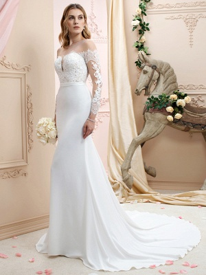 Country A line Chiffon Wedding Dress Long Sleeves Lace Appliques Bridal Gowns Online_1