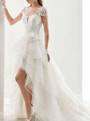Vintage Asymmetrical A-Line Wedding Dress Jewel Lace Organza Short Sleeve Sexy Bridal Gowns Sweep Train