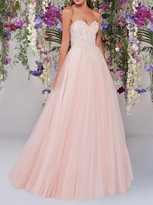 Country A-Line Wedding Dress Strapless Lace Tulle Sleeveless Bridal Gowns Wedding Dress in Color_1