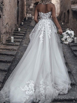 Romantic A-Line Sweetheart Tulle Wedding Dress Boho Beach Lace Bridal Gowns Online_2