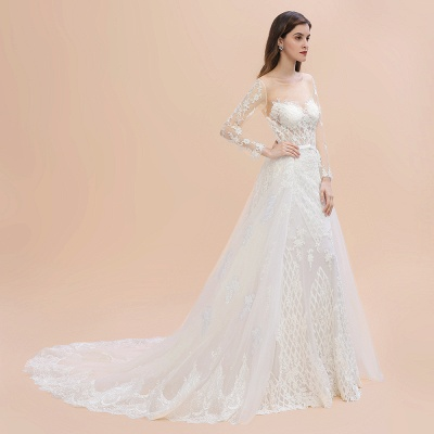 Gorgeous Jewel Tulle Lace Wedding Dress   Long Sleeves Appliques Mermaid Bridal Gowns_10