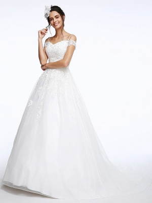 Ball Gown Wedding Dress Off Shoulder Organza Beaded Lace Short Sleeve Bridal Gowns with Court Train_5