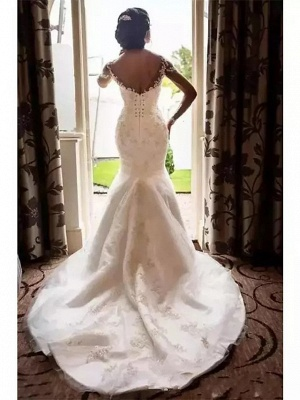Romantic Mermaid Wedding Dress Scoop Lace Tulle Long Sleeve Sexy See-Through Bridal Gowns Court Train_2