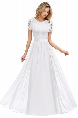 Chic A-line Chiffon Lace Bridesmaid Dress with Short Sleeves On Sale_1