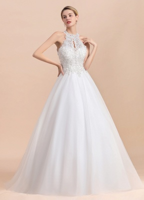 Exquisite High-Neck Lace Wedding Dress | Appliques Sequins Sleeveless Bridal Gowns_4