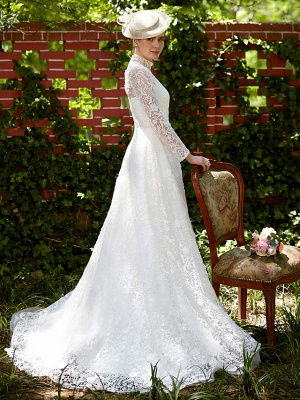 Illusion A-Line Wedding Dress Floral Lace Long Sleeve Bridal Gowns Court Train_3