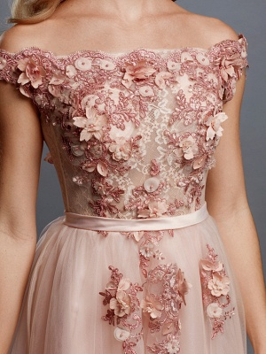 Glamorous Sleeveless Appliques Tulle A-Line Prom Dresses_6