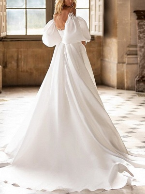 Country A-Line Wedding Dress Off Shoulder Satin Half Sleeves Plus Size Bridal Gowns with Sweep Train_2