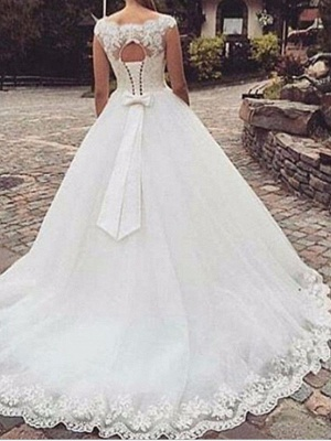 A-Line Wedding Dress Jewel Tulle Straps Bridal Gowns Sweep Train On Sale