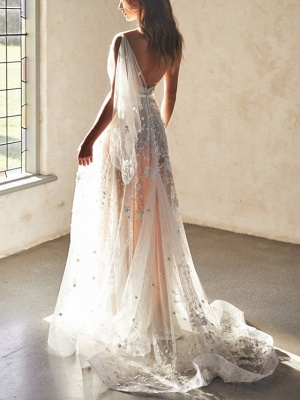Sexy A-Line Wedding Dresses Sweetheart Lace Sleeveless Bridal Gowns Wedding Dress in Color See-Through Court Train_5