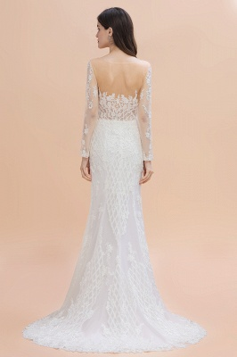 Gorgeous Jewel Tulle Lace Wedding Dress   Long Sleeves Appliques Mermaid Bridal Gowns_2