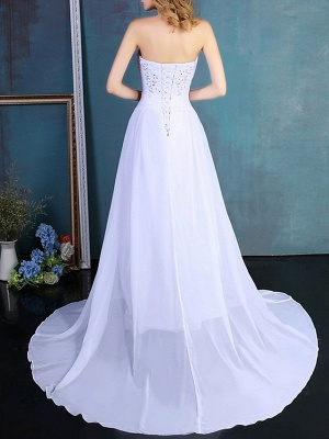 Formal A-Line Wedding Dress Strapless Tulle Strapless Plus Size Bridal Gowns Sweep Train_4