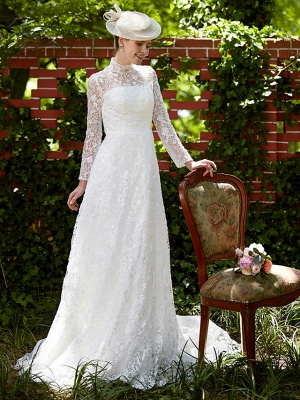 Illusion A-Line Wedding Dress Floral Lace Long Sleeve Bridal Gowns Court Train_4