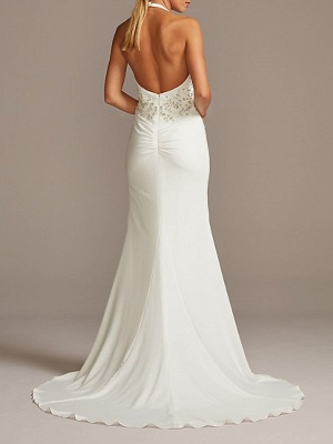 Country Plus Size Mermaid Wedding Dress Halter Neck Plunging Neck Sleeveless Bridal Gowns Sweep Train_2