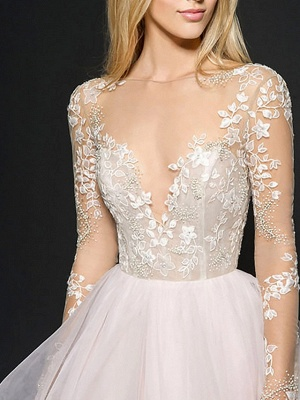 Style Ball Gown Wedding Dresses V Neck Organza Long Sleeve Bridal Gowns Online_3