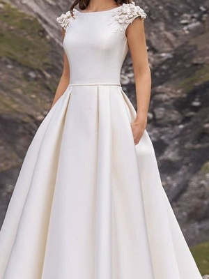 Country A-Line Wedding Dress Jewel Satin Cap Sleeve Plus Size Bridal Gowns Sweep Train_3