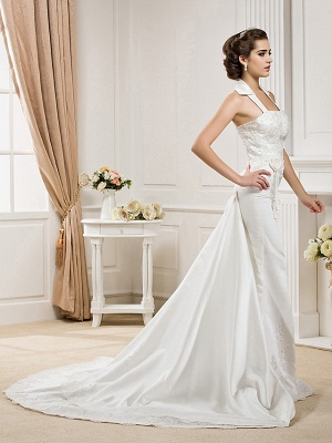 Affordable Mermaid Halter Wedding Dress Satin Sleeveless Bridal Gowns with Court Train_2